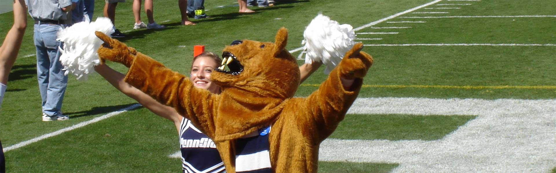 Nittany Lion and cheerleader