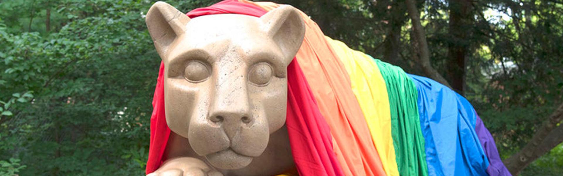 Lion with rainbow flag
