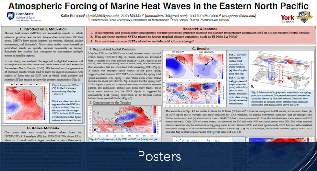 Catherine's poster of Atmospheric Forcing of Marine Heat Waves in the Eastern North Pacific