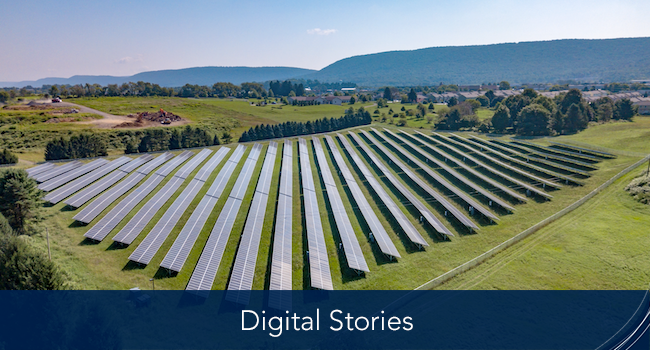 a row solar panels in a field