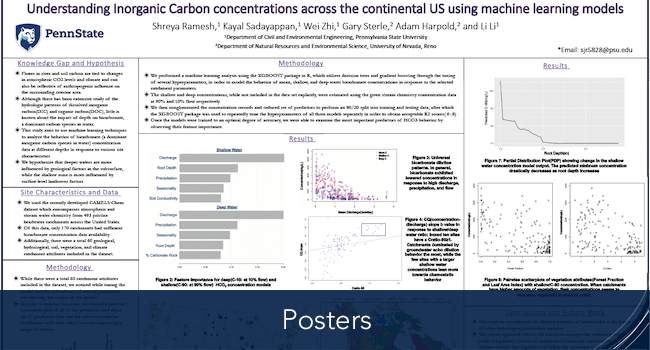 Shreya's poster of Understanding Inorganic Carbon concentrations across the continental US using machine learning models