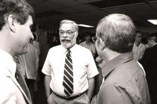 Funding woes students often face inspired Carl Chelius, center, to establish the Chelius Family Scholarship in Meteorology
