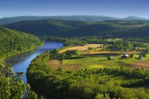 The Susquehanna River, seen here in Bradford County, runs past thousands of Pennsylvania farms on its way to the Chesapeake Bay.