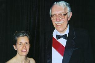 Susan Trolier-McKinstry with materials scientist Robert Newnham, at the Franklin Medal in Electrical Engineering ceremony