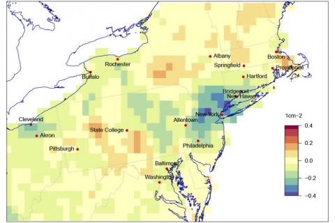 A map showing the difference in nitrogen dioxide concentrations in the northeast U.S. for April 20 and the previous 4 years