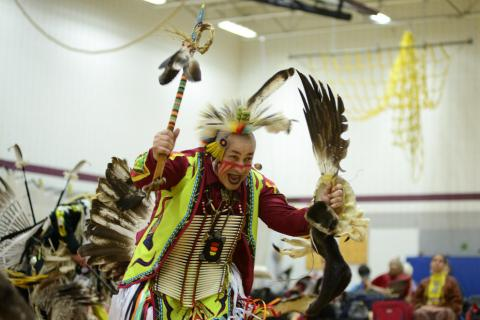 """Patrick Littlewolf, of the Tuscarora tribe, dances the """"Duck and Dive"""""""
