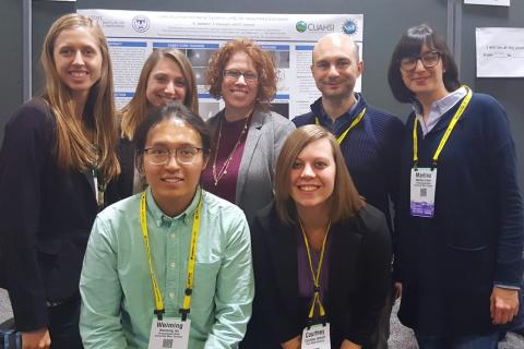 Guido Cervone (back row, second to right) with students and postdoctoral scholars from his lab at a recent AGU fall meeting.