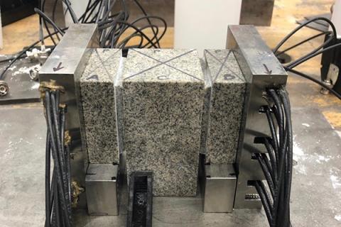 Double-direct shear configuration consisting of three granite blocks.