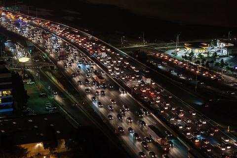 An aerial photo of traffic