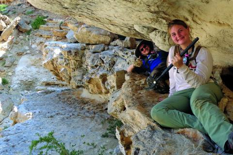 Troy Ferland and Annalee Sekulic collect middens s part of the Ancient Socio-Ecological Systems in Oman research project
