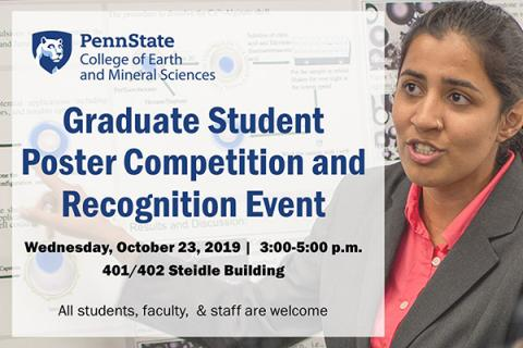 The College of Earth and Mineral Sciences will host a fall graduate poster competition on Wednesday, Oct. 23, 2019