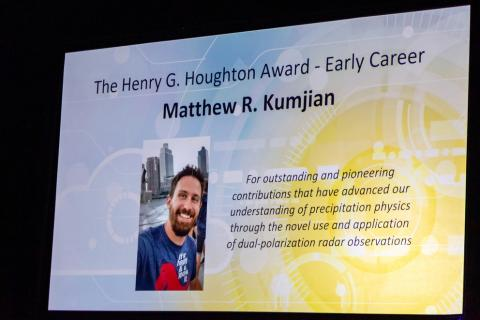 Matthew Kumjian was recently awarded the Henry G. Houghton Early Career Award from the American Meteorological Society