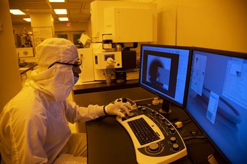 Millennium Scholar Donovan Moses works in the lab