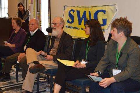 Alan MacEachren (center) shares best practices at a Supporting Women in Geography (SWIG) panel