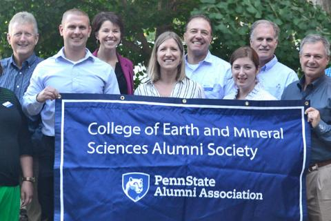 Graduates of Earth and Mineral Sciences (GEMS) board members at a meeting in 2017