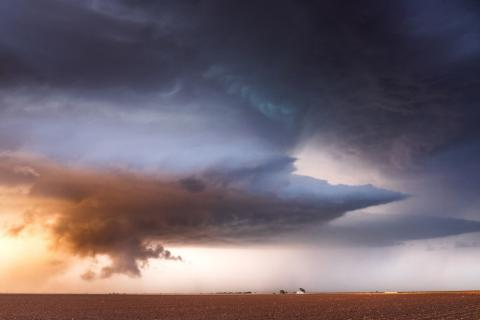 A mature supercell thunderstorm over Needmore, Texas