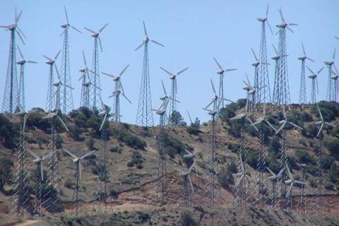 A wind farm in the Tehachapi mountains of California.