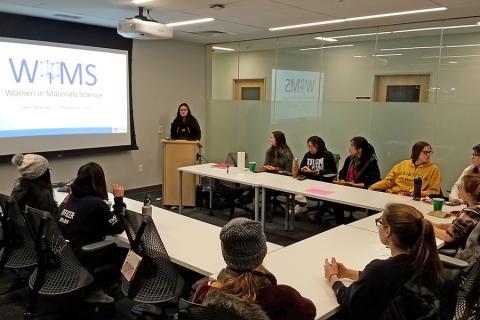 Ana Isabel de la Fuente Duran leads a regular Women in Materials Science club meeting.