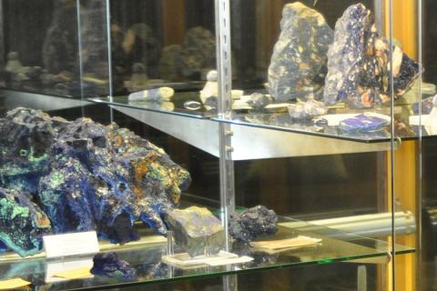 Exhibit case in the Earth and Mineral Sciences Museum & Art Gallery
