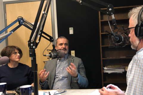 Shadi Nazarian and José Duarte during a recording of WPSU's Reach podcast