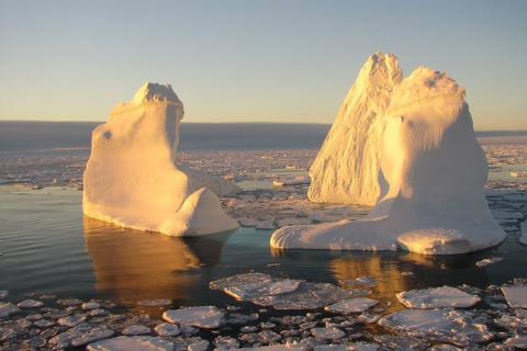 Floating iceberg in Labrador Sea south of Greenland