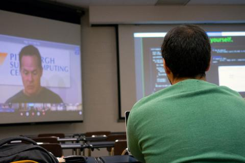 A student participates in the multi-university XSEDE Bootcamp, which teaches supercomputing skills.