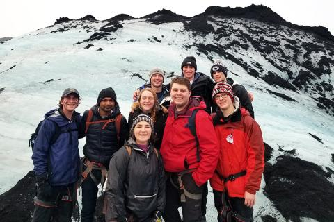 Penn State students hike a glacier in Iceland as part of the GREEN Program.