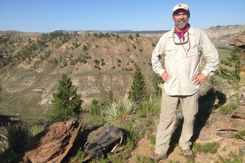 Penn State paleobiologist Mark Patzkowsky at the Upper Missouri Breaks National Monument in Montana