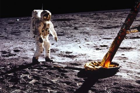 "Astronaut Edwin E. ""Buzz"" Aldrin Jr. photographed walking on the moon on July 20, 1969."