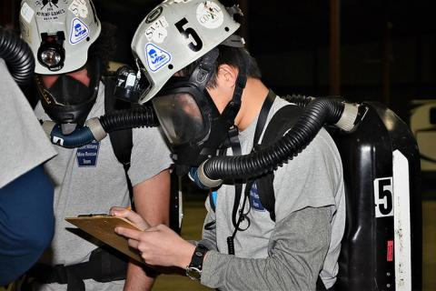 Students develop skills necessary to respond to a mine rescue emergency through contest