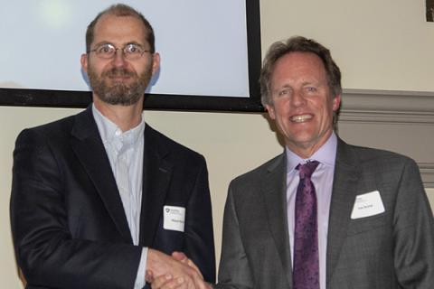 Klaus Keller, left, received the 2019 Outstanding Postdoc Mentor Award