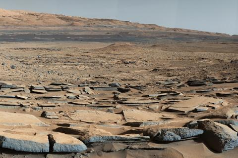 A view from the base of Mars' Mount Sharp taken by the Curiosity rover.