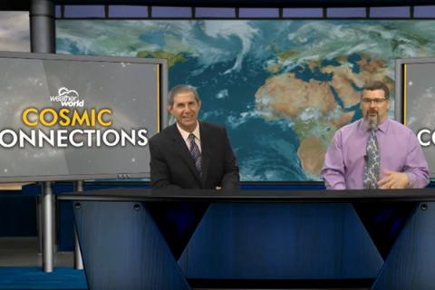 """""""Weather World"""" host Jon Nese, left, invited astronomer Chris Palma to be on the show"""