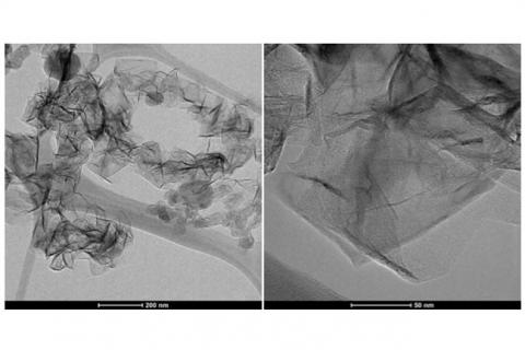 The images show the nanographene morphology as produced in the microwave plasma