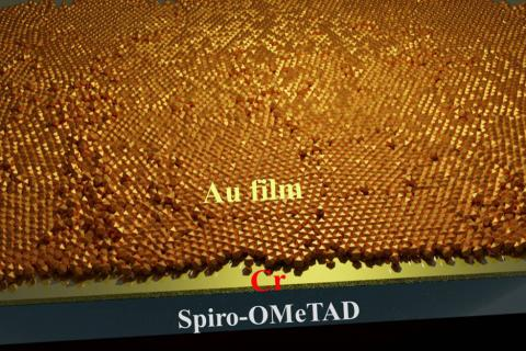 A chromium seed layer allows for growth of ultrathin gold film that serves as a transparent electrode
