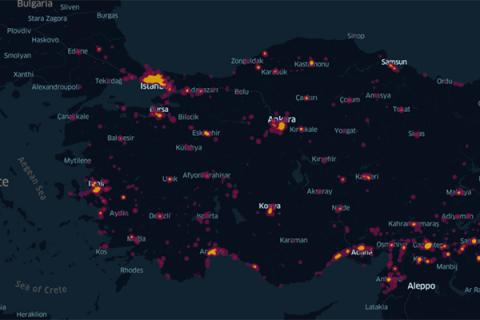 This heat map shows the volume of calls from refugees to non-refugees in Turkey from January to early March, 2017.