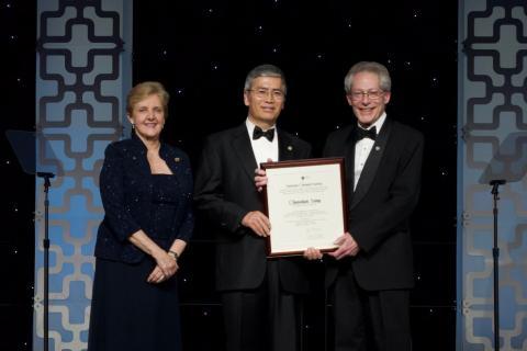 2019 George A Olah Award recipient Chunshan Song (center) is presented his award