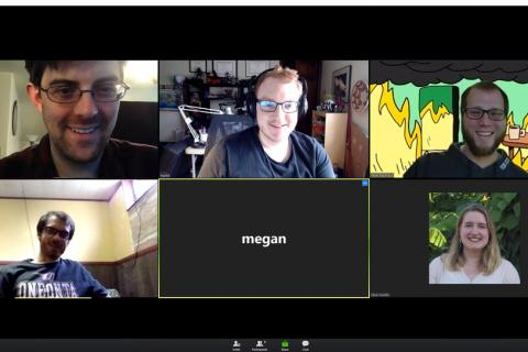 A screenshot of the Monday afternoon Zoom Coffee Break for graduate students.