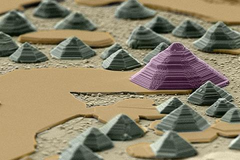 """""""Indium Selenide Pyramids and Mesas on Epitaxial Graphene,"""" submitted by Brian Bersch, won the Best of Show in 2018."""