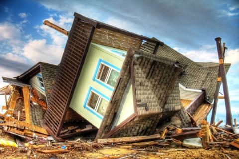 A beach house on the Bolivar Peninsula near Galveston, TX, destroyed by Hurricane Ike in 2008.