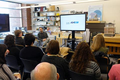 Stephen Mainzer, assistant teaching professor at Penn State, meets with community members from Selinsgrove, Pennsylvania.