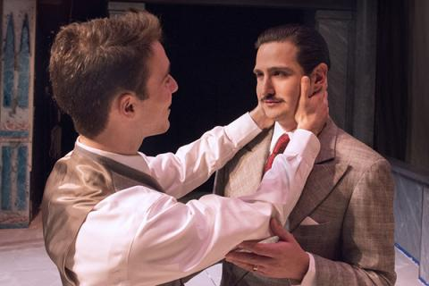 """Gabriel Pena, right, and Kevin Dort, work through a scene for the Penn State Centre Stage production of """"The Light in the Piazza."""""""