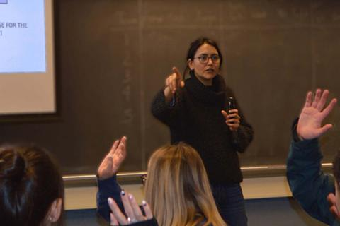Saumya Vaishnava, shown here in this pre-pandemic photo, gets students actively involved when she teaches