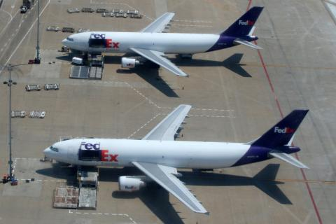 Cargo planes being loaded at Memphis International Airport