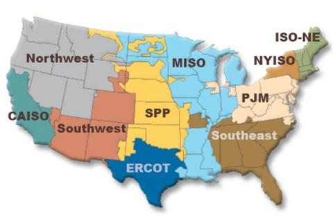 Map of United States electric grid managed by regional interconnections