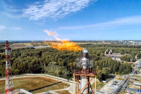 Methane flare from petrochemical plant