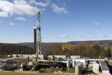 A Marcellus Shale gas drilling well site near Wellsboro, Pa.