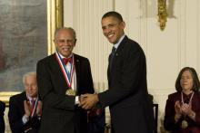 Warren Washington receives the National Medal of Science from President Barack Obama in 2010.