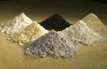 Rare-earth oxides, clockwise from top center: praseodymium, cerium, lanthanum, neodymium, samarium, and gadolinium.
