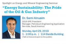 President of Society of Petroleum Engineers to discuss energy sustainability